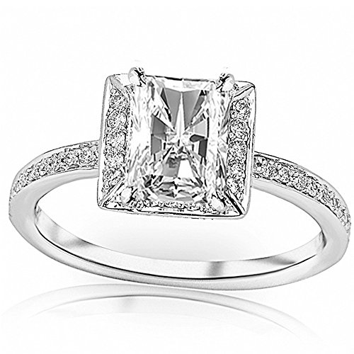 - 0.8 Ctw 14K White Gold GIA Certified Radiant Cut Victorian Halo Style Square Shaped Pave Set Round Diamond Engagement Ring, 0.5 Ct G-H SI1-SI2 Center