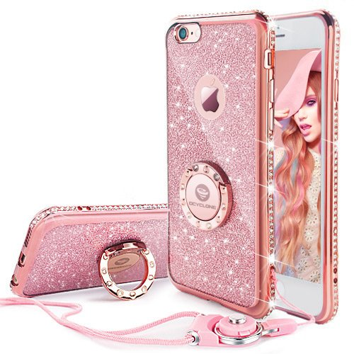 iPhone 6 6s Case, Glitter Cute Phone Case Girls with Stand, Bling Diamond Rhinestone Bumper with Ring Kickstand Clear Thin Soft Protective Sparkly Pink iPhone 6 6s Case for Girl Women - Rose Gold