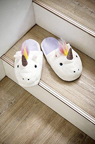 Einhorn Damen Plüsch-Hausschuhe / Pantoffeln Größe 38 - 40
