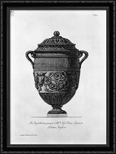 Piranesi Vase - Antique vase of marble decorated with ox skulls and garlands 28x38 Large Black Ornate Wood Framed Canvas Art by Giovanni Battista Piranesi