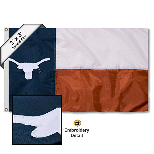 College Flags and Banners Co. Texas Longhorns Texas State 2x3 Foot Embroidered Nylon Flag