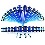 CrazyPiercing 36pcs Ear Gauges Kit Clear Acrylic Tapers and Plugs Double O-Rings 14G-00G Stretching Kit (Clear Blue)
