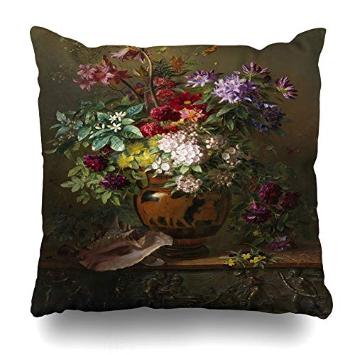 - Ahawoso Throw Pillow Cover Spring Still Life Flowers Greek Vase Allegory On by Georgius Jacobus Van Dutch Painting Design Relief Decorative Zipper Cushion Case Square 20