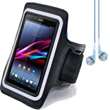 SumacLife Neoprene Workouts Armband Case for Sony Xperia Z Ultra C6833 C6802 (Black) + Blue VanGoddy Headphones With MIC