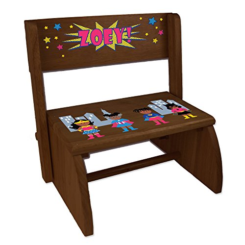 (Personalized Childrens Espresso Folding and Flip Stool Super Hero Girl African American)