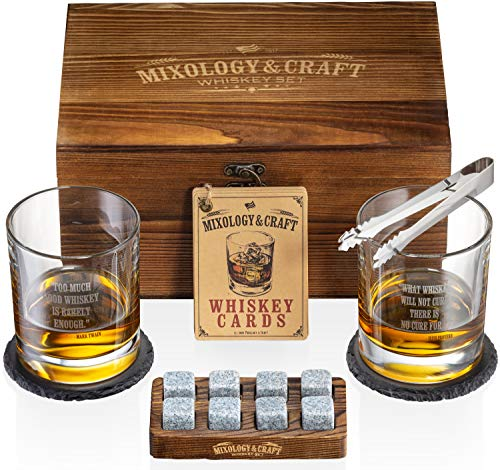 Whiskey Stones Gift Set for Men | Whiskey Glass and Stones Set with Wooden Box, 8 Granite Whiskey Rocks Chilling Stones…