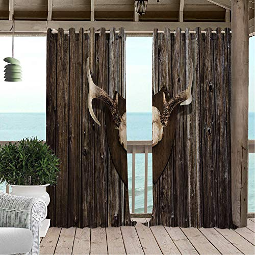 Linhomedecor Patio Waterproof Curtain Antler Rustic Cottage Cabin Wall Antlers Hunting Lodge Country House Trophy Brown Porch Grommet Panel Curtains 72 by 72 inch