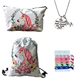 Unicorn Gifts for Girls 4 Pack - Unicorn Drawstring Backpack/Makeup Bag/Inspirational Necklace/Hair Ties (White)