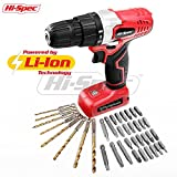 Hi-Spec 8V 1300mAh Li-ion Cordless Battery Power Drill Driver with 38 Piece Drill & Screw Bit Tool Set Kit for DIY Repairs, Assembly, Drilling & Screwdriving In the Home, Office & Garage