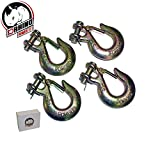 D-Rhino Clevis Grab Hooks 1/4'' Safety Latch G70 Rigging Tow Towing Transport Truck Trailer (4 Lot)