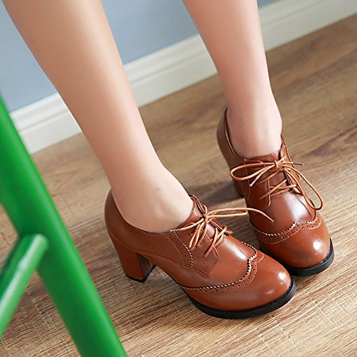 PU Chunky Leather Wingtip Womens Brogue Shoes Heels Lace Pumps Brown Odema Oxfords Dress up High Oxfords BUqfx5vx