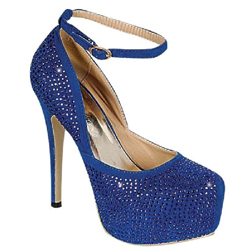 Heel Pump Eye Strap Candie 83 Rhinestone Celine Ankle Women's High Blue Platform x1T1qp0vBw