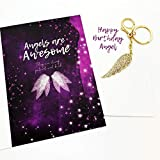 Smiling Wisdom - Happy Birthday Angel Wing Birthday Gift Set - Greeting Card - Angel Wing Keychain Gift Set for an Awesome Friend, Sister, Mom, Daughter, Women - Gold with Rhinestones