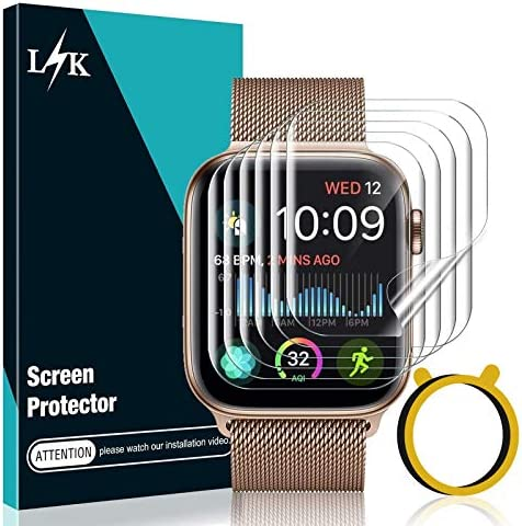 LϟK 6 Pack Screen Protector Compatible for Apple Watch 44mm Series 6 5 4 / Apple Watch SE 44mm with Circle Installation Tool,Full Coverage Flexible Soft TPU for iWatch 44MM, Not are compatible for Series 3 2 1