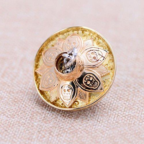 FORFOX Pendentif Tete de Mort cr/âne Biker Bijoux avec Chapeau Or Rose en Argent Sterling 925 pour Hommes Femmes