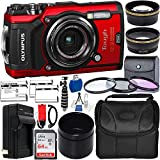 Olympus Tough TG-6 Digital Camera with Deluxe Accessory Bundle - Includes: SanDisk Ultra 64GB SDXC Memory Card + 2X Spare Batteries with Charger + Flexible Gripster + Adapter Tube + More (Red)