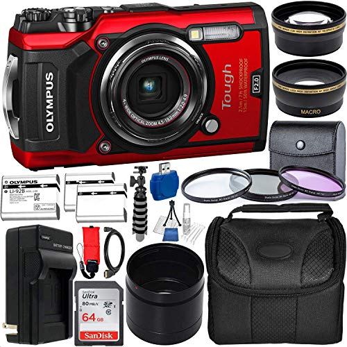 Olympus Tough TG-6 Digital Camera with Deluxe Accessory Bundle - Includes: SanDisk Ultra 64GB SDXC Memory Card + 2X Spare Batteries with Charger + Flexible Gripster + Adapter Tube + More (Red) (Digital Camera Waterproof Olympus)