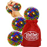 Schylling Squeezy Peezy (Soft & Easy!) Squishy, Squeezy, Stretchy Rainbow Stress Balls Gift Set Party Bundle Bonus Matty's Toy Stop Storage Bag - 3 Pack