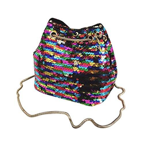 Women Girls Leather Bling Sequins Bucket Bag Shopping Shoulder Tote Bag Messenger Crossbody Bag (Multicolor) Weekender Cross Body