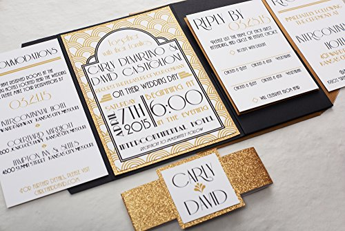 Gold Glitter Art-Deco Wedding Invitation, Roaring 1920's Elegant Wedding Invitation Set, New Years Eve Wedding Invite, SAMPLE, Wedding Invitations with pocketfold