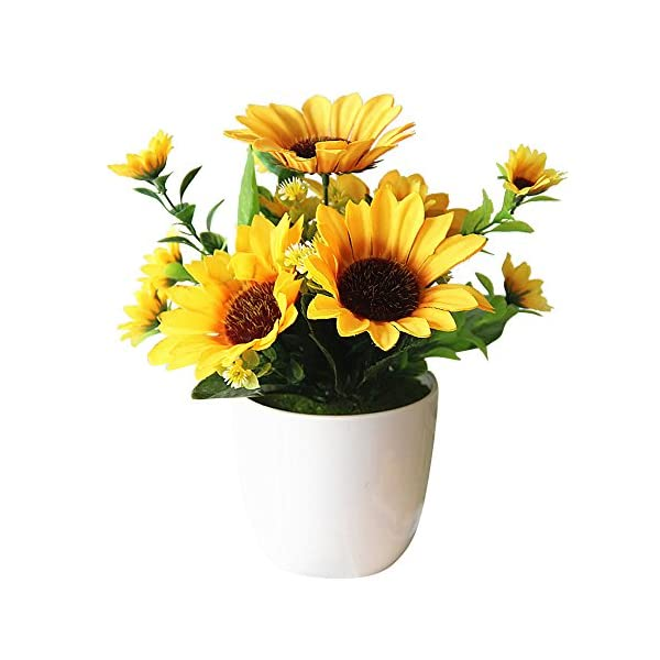 Gorgeousstyles Artificial Potted Flowers Sunflower 10 Inch