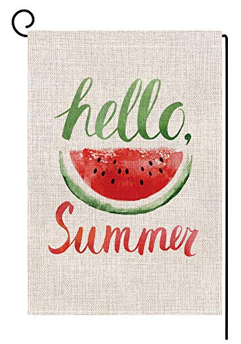 Summer Watermelon Small Garden Flag Vertical Double Sided 12.5 x 18 Inch Daisy Floral Burlap Yard Outdoor Decor -