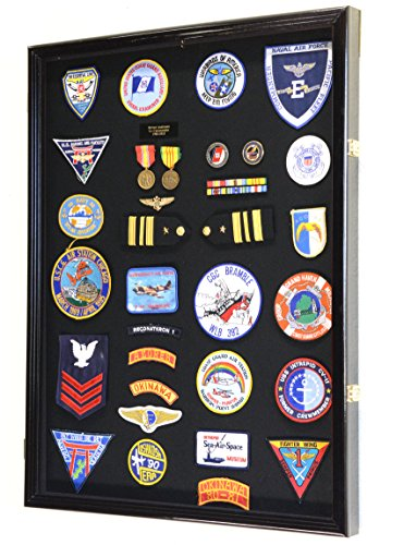 XL-Military-Medals-Pin-Patches-Badges-Ribbons-Insignia-Flag-Display-Case-Cabinet-Shadowbox
