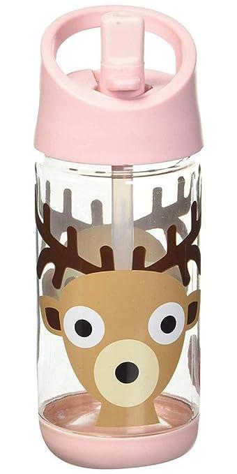 gedetailleerde look schoenen voor goedkoop laag geprijsd 3 Sprouts Water Bottle - Kids Small Spill Proof 12oz. Plastic Spout Water  Bottle, Pink, Deer