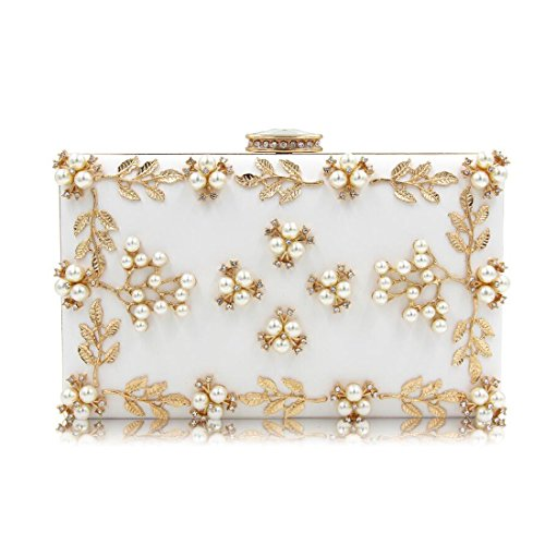 Lined Vintage Clutch (EPLAZA Women Floral Rhinestone Evening Clutch Bags Vintage Beaded Purse Party Wedding Handbag (white))