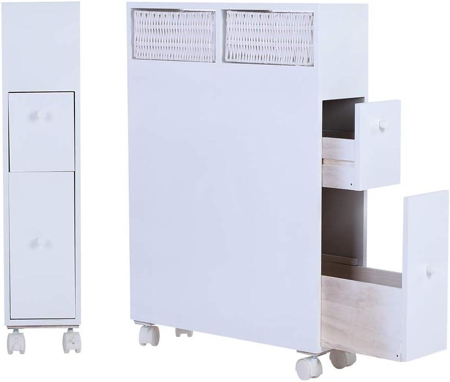 Hanper Armadietto da Bagno con Ruote,2 cassetti Bianco Organizzatore di stoccaggio di Pavimento della Toilette del gabinetto di Legno