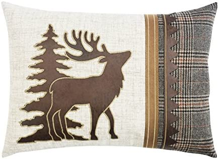 Comfy Hour Rustic Country Style Vintage Home Plaid Moose Cabin Accent Pillow Throw Fashionable Cushion, 18 x13