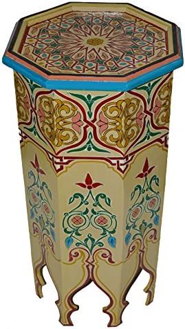 Moroccan Wood Side End Table Corner Coffee Handmade Hand Painted Moorish Beige