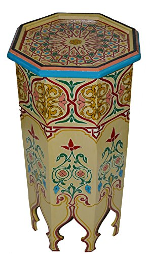 Moroccan Wood Side End Table Corner Coffee Handmade Hand Painted Moorish Beige ()