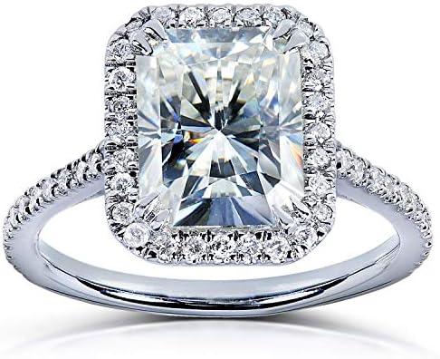 Kobelli Forever One (D-F) Radiant-cut Moissanite Engagement Ring 3 Carat (ctw) in 14k White Gold
