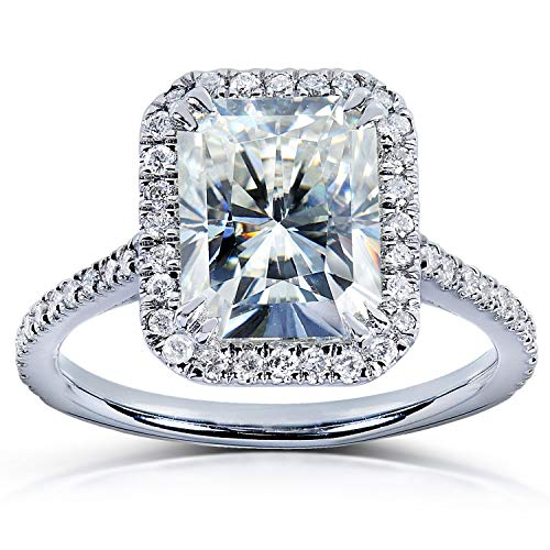 Near-Colorless (F-G) Moissanite Engagement Ring 3 CTW 14k White Gold, Size - Square Ring Engagement Diamond