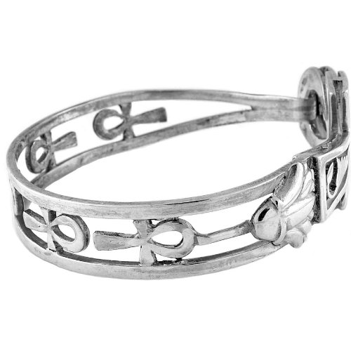 Egyptian Jewelry Silver Ankh and Horus Bangle