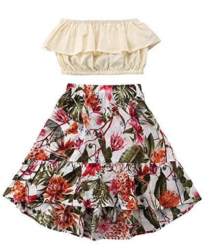 YOUNGER TREE Toddler Kids Baby Girls Outfits Ruffle top +Floral Long Skirt Summer Clothes Set (Floral, 3-4 Y) -
