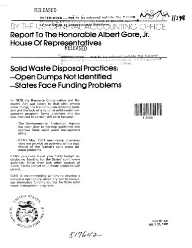 Solid Disposal Waste (Solid Waste Disposal Practices: Open Dumps Not Identified; States Face Funding Problems)