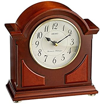 Image of Seiko 9' Brown Wooden Case with Chime Mantel Clock Home and Kitchen