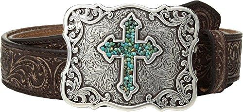 Nocona Belt Co. Women's Inlay Turquoise Cross Buckle Belt, Brown, (Turquoise Cross Belt)