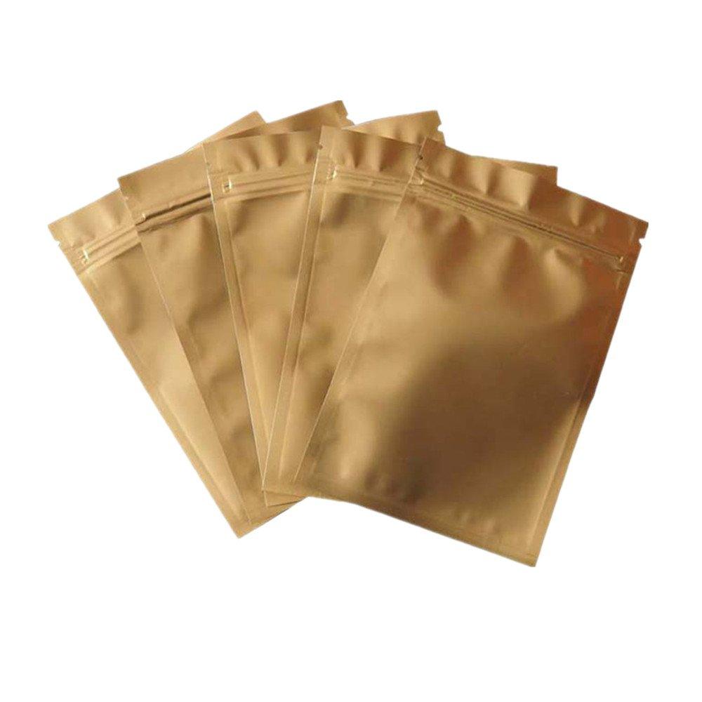 100Pcs Aluminum Mylar Foil ZipLock Flat Bag Sealable Pouch Storage Food Package Pack (8X12cm, Matte Gold)