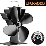 Sonyabecca Heat Powered Stove Fan With Magnetic Thermometer 4 Blade Wood  Stove Fans Aluminium Silent Eco