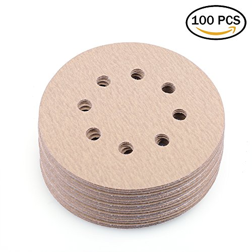 Accessories Abrasives 5 Inch Sanders (Sanding Disc 5-Inch 8-Hole 180 Grit Hook-and-Loop Sandpaper - Random Orbital Sander Round Paper by LotFancy, Pack of 100)