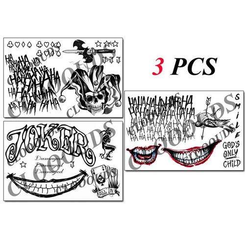 Joker Tattoos - 3 Sheets The Joker Temporary Tattoos