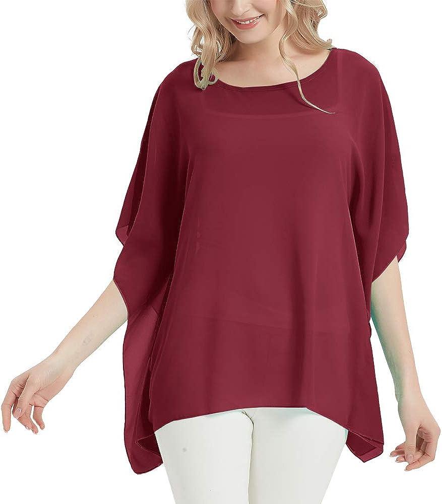 Women's Bohemian Floral Print Sheer Chiffon Blouse Batwing Shirt Tops Caftan Poncho Tunic