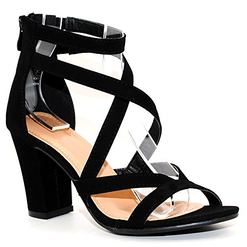 - TRENDSup Collection Women's Chunky Heel Ankle Strap Sandals (7.5, Black)