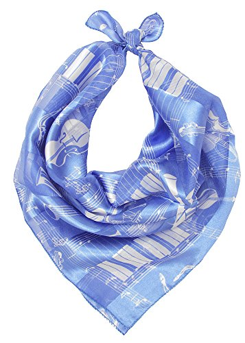 Women's Satin Striped Lightweight Spring/Summer/Fall Square Musical Instruments Printed Scarf (Blue/White) Light Blue Striped Satin