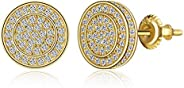 BBL Round Stud Earrings For Women Men Iced Out CZ Stud Earrings Screw-back Hypoallergenic Hip Hop 14k Gold/Whi