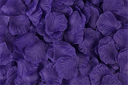 Vivianbuy 1000 PCS Artificial Silk Flower Purple Rose Petals for Wedding Party Bridal Decoration]()