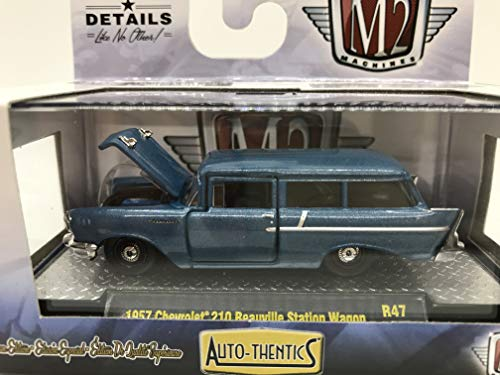 M2 Machines Auto-Thentics 1957 Chevrolet 210 Beauville Station Wagon R47 18-15 Blue Details Like NO Other! 1 of 6000 (Best Affordable Station Wagons)